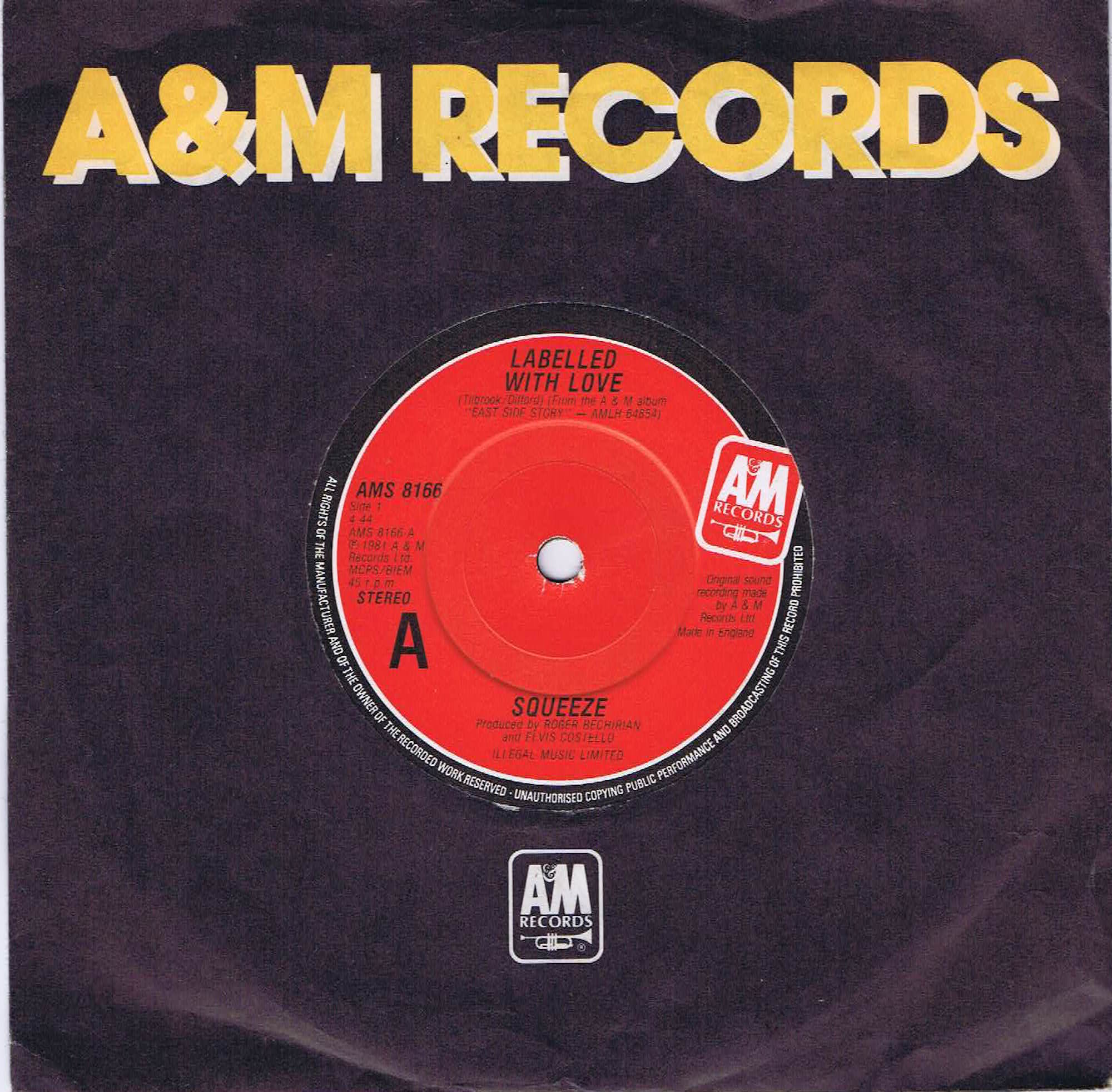 Squeeze Labelled With Love Ams 8166 7 Inch Vinyl