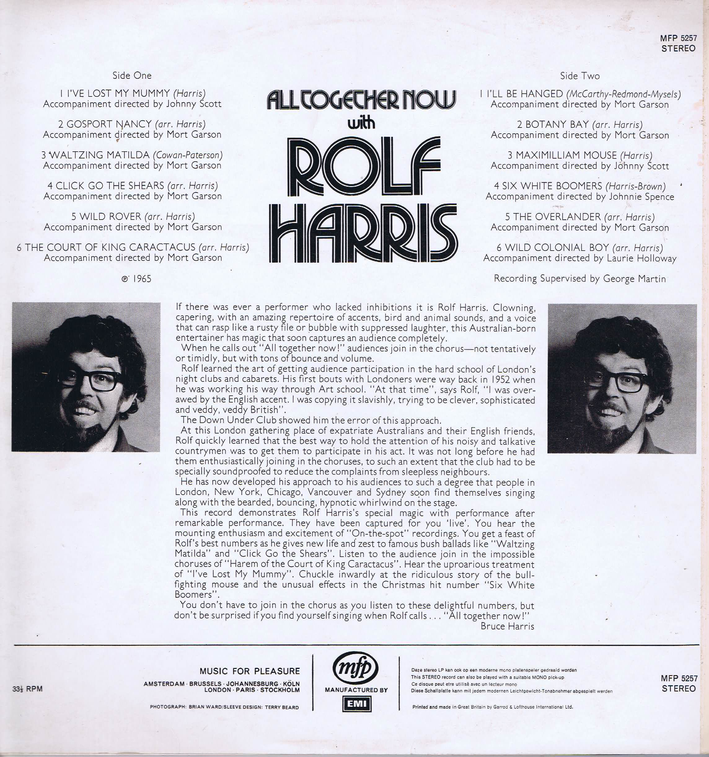 Rolf Harris - All Together Now - MFP 5257 – LP Vinyl Record