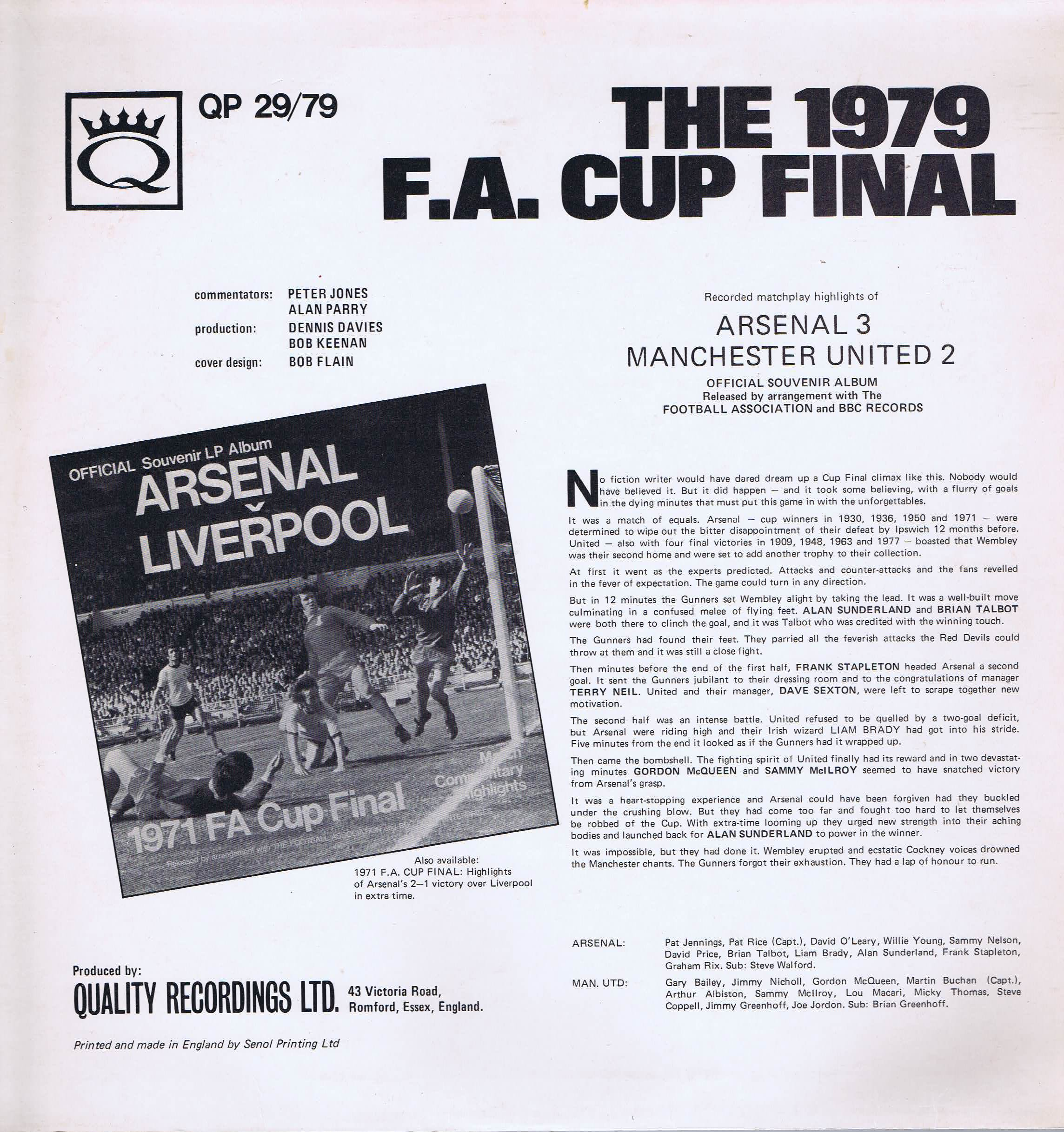 The 1979 Fa Cup Final Arsenal V Manchester Utd Lp